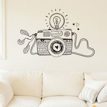 EHome Creative Smile Light Bulb Camera Wall Stickers Design Cartoon Home Decor Vinyl Sticker Wall Decals