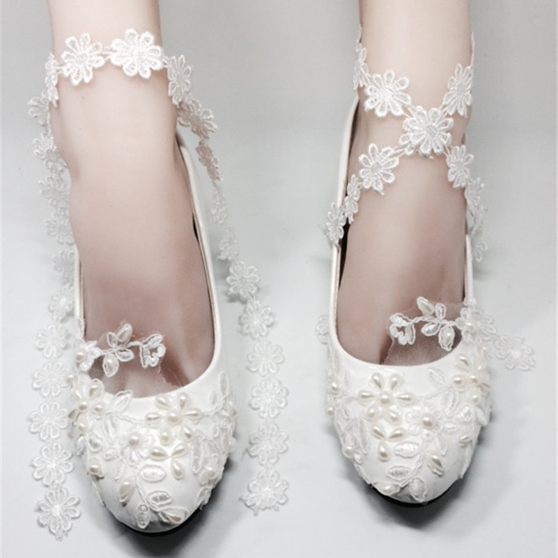 Low Heels Women Ivory White Lace Wedding Shoes,Dream