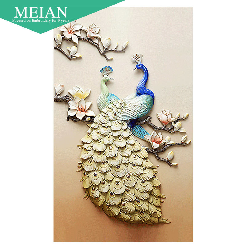 Meian Special Shaped Diamond Embroidery Animal Peacock 5D DIY Diamond Painting Cross Stitch 3D Diamond Mosaic