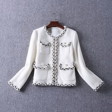 2017 Autumn Winter Wool & Blend Women Coats Jackets Ladies Hand Made Tweed Pearl Beads Elegant Coat Outerwear Woolen Jackets