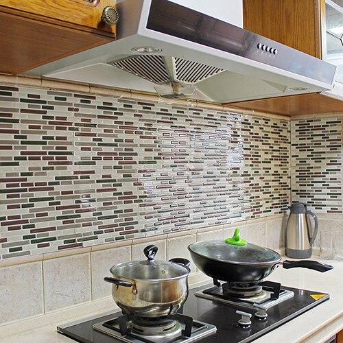 4 Stücke Wohnkultur 3D Fliesen Muster Küche Backsplash Aufkleber Wandbild  Wandtattoos