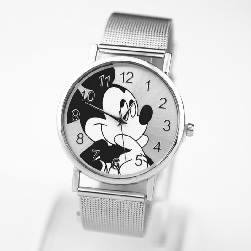 2019 Fashion Brand Mickey Mouse Newest Luxury Quartz Watch Lady Slim Stainless Steel Mesh Strap Watch Women Clock Kobiet Zegarka