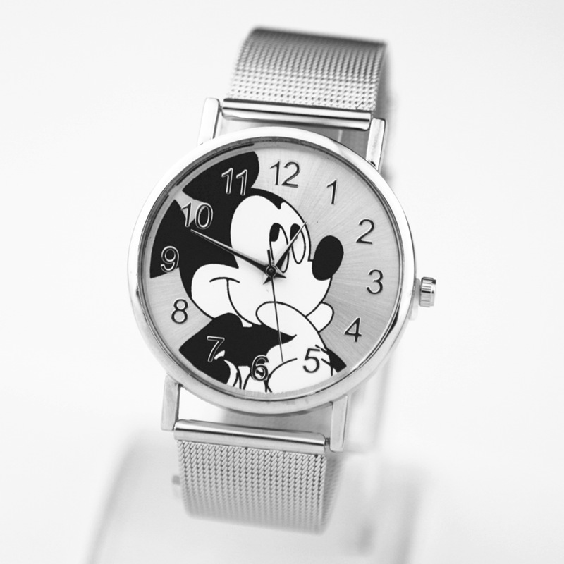 2019 Fashion Brand Mickey newest luxury quartz watch Lady Slim Stainless Steel Mesh Strap Watch Women Clock kobiet zegarka