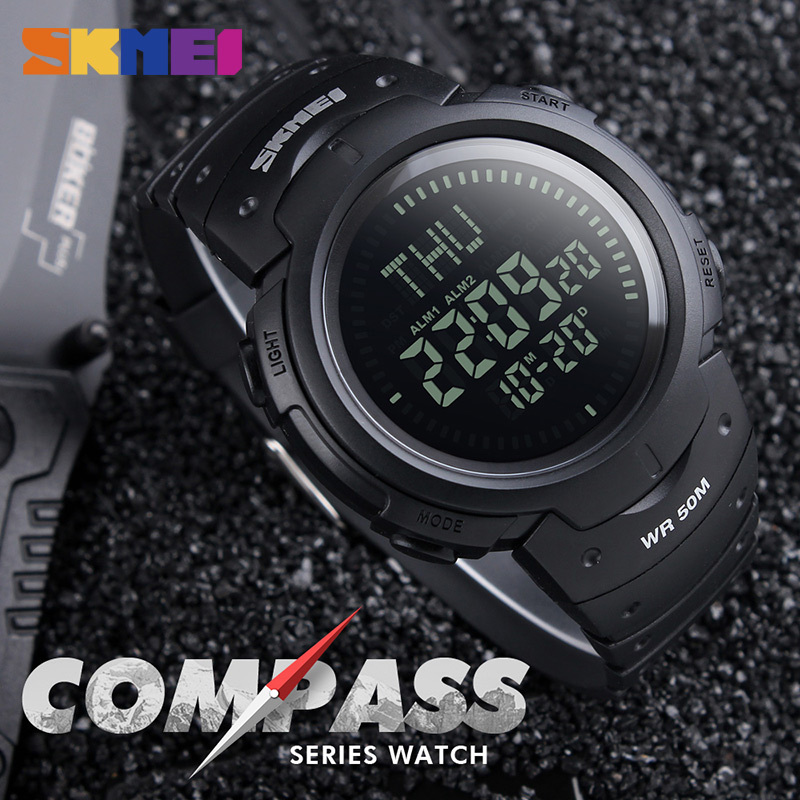 SKMEI Men Compass Digital Watch Repeater Stopwatch Sports Watches Military LED Electronic Wristwatch Army Green Clock Male 1231