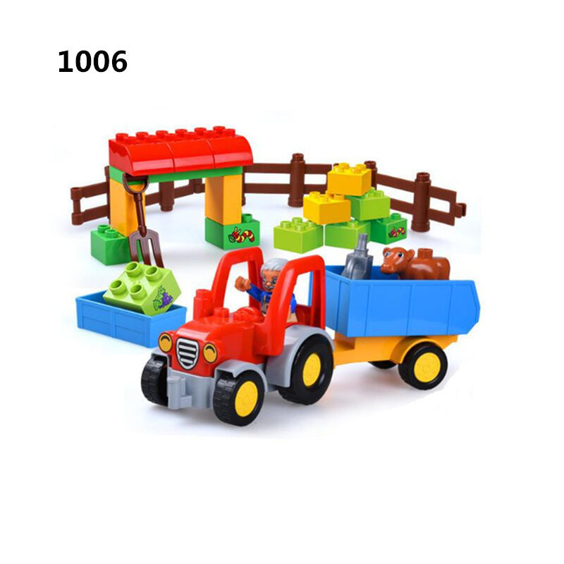 Big Size Diy Bricks Happy Farm Zoo Animals Blocks Set Compatible With Legoingly Duploed Toys For Children Hobbies Birthday Gifts mr froger american crocodile alligator wild animals toys set zoo modeling plastic solid cute gift reptiles toy gifts diy fun
