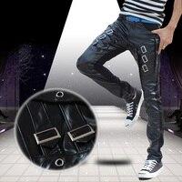 New 2014 Fashion Faux Leather Harem Pants Men Drop Crotch Pants Men Baggy Pants Casual Fashion