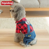 Hipidog Pet Dog Red Black Plaid Shirt Denim Jeans Heart Strap Pants Rompers Puppy Spring Autumn