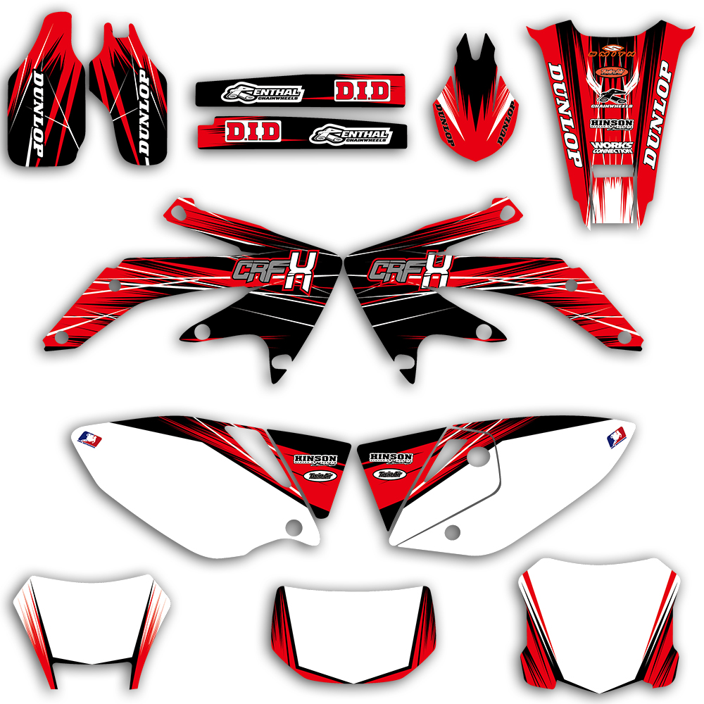 Team Graphic Background Decal And Sticker Kit For Honda CRF450X CRF 450X 450 X 4 Stroke 2004-2012 2013 2014 2015 2016 2017 2018