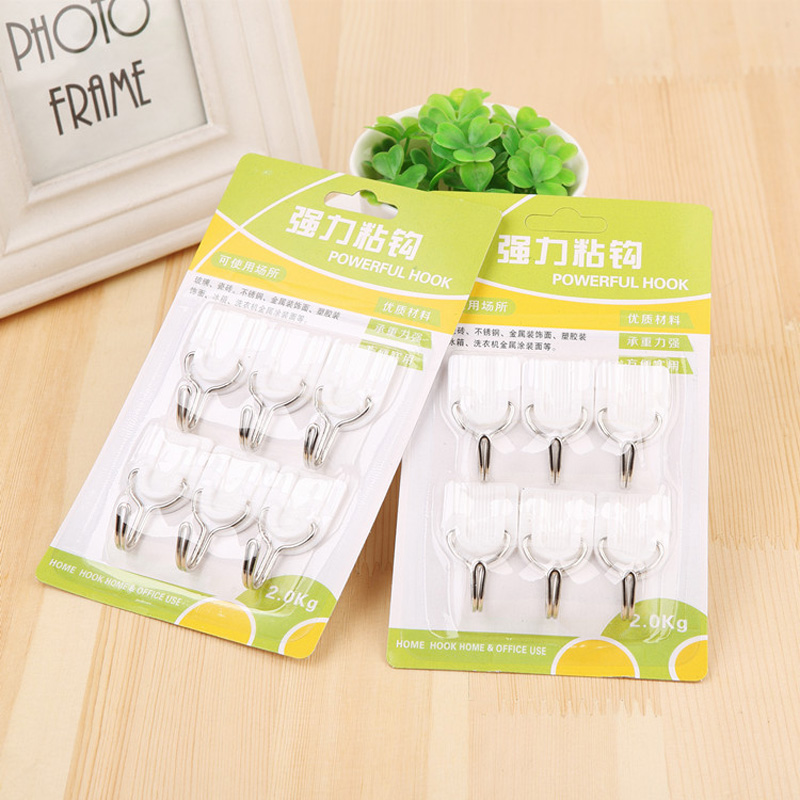 6pcs Kitchen Cookware Sticky Wall Hook Super Cost-effective Rustproof Bathroom Hooks Towel Clothes Hat Key Organizer Holder