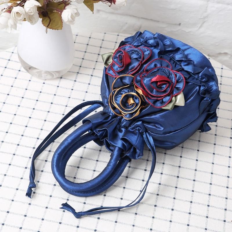 Satin Purse Embroidered Flower Open-Shoulder-Bag Small Handbag Women String THINKTHENDO