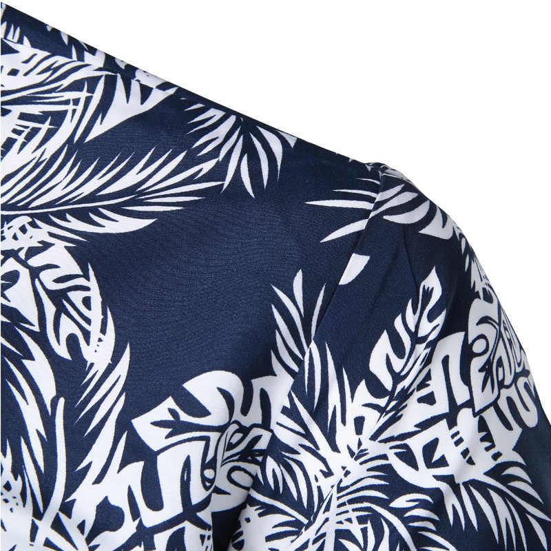 Мужские хипстерские летние с коротким рукавом пляжный гавайская рубашка 2018 новые хлопковые повседневные рубашки с цветочным принтом Slim Fit Camisas Para Hombre