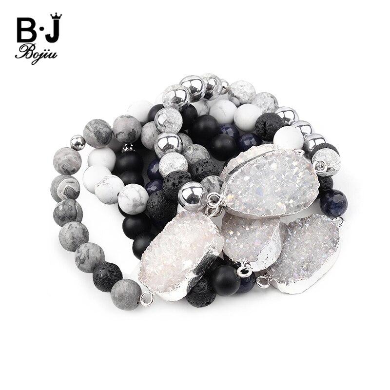9bb269560399 BOJIU elástico Piedra Natural pera Druzy encanto pulseras para mujer hecho  a mano 8mm Agates ónix Lava cuentas pulsera regalo BC283