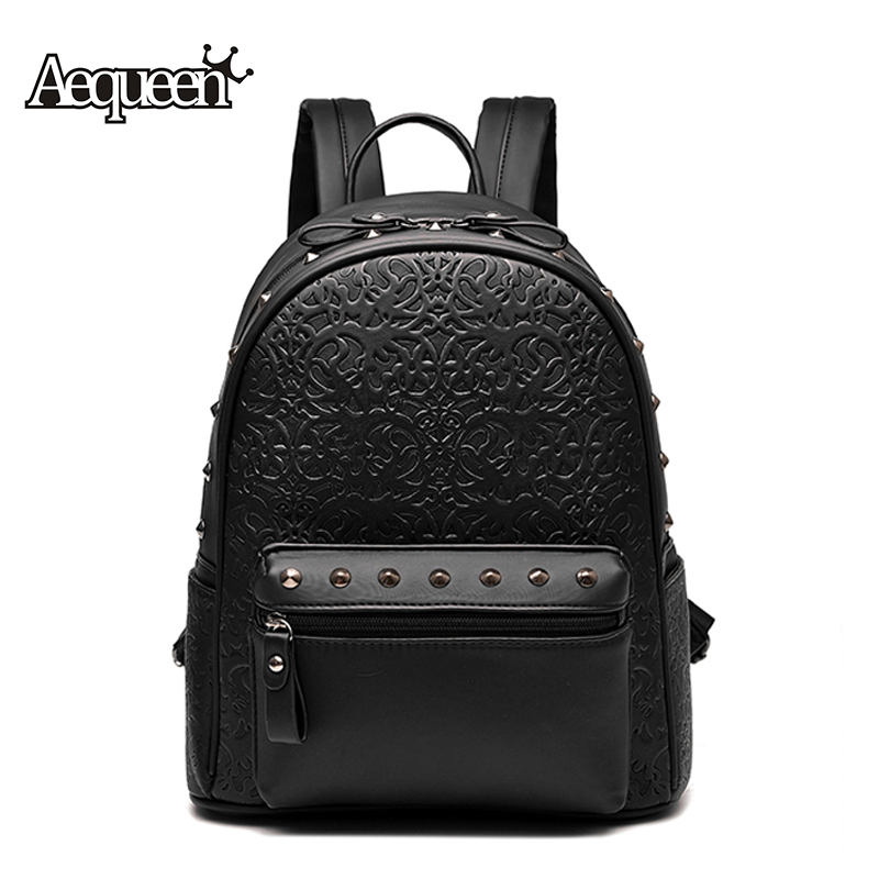 AEQUEEN Women Leather Backpack 2017 New Fashion Rattan School Bags For Teenagers Rivet Rucksack Travel Backpacks