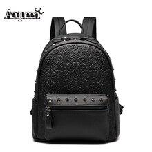 Aequeen женщины кожа рюкзак 2017 новая мода ротанга заклепки рюкзак путешествия рюкзаки школьные сумки для подростков