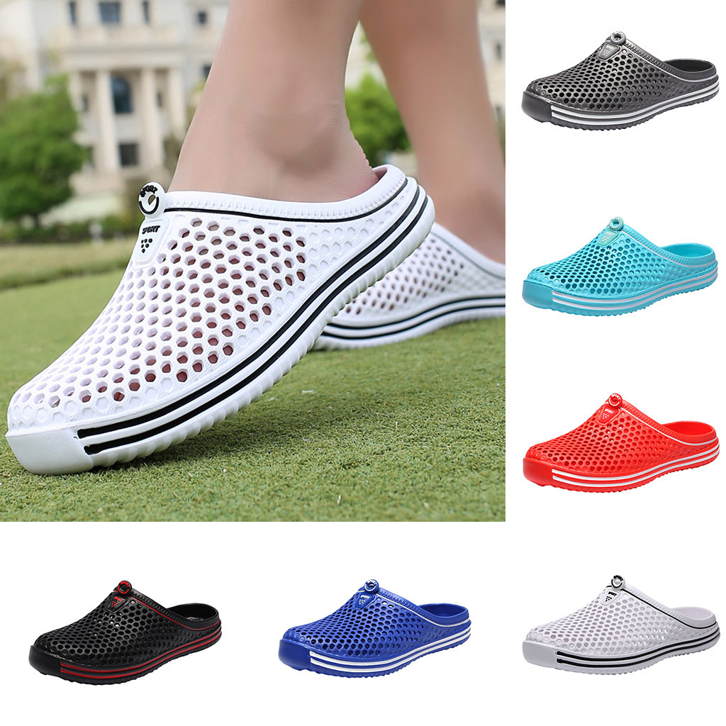 Women's Mesh Couples Unisex Hollow Breathable Out Non-slide Slipper Beach Outdoor Shoes 36-45 Zapatos De Mujer Lazy Half Slipper