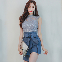 2018 Summer Sleeveless Lace Blouse Bowknot Irregular Mini Skirt Two Piece Sexy Bodycon Sets Solid Suit Dress