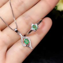 SHILOVEM 925 sterling silver Natural Emerald rings pendants send necklace fine Jewelry wedding Christmas gift yhtz0304511agml kjjeaxcmy fine jewelry natural emerald female ring 925 sterling silver mosaic to support any identification