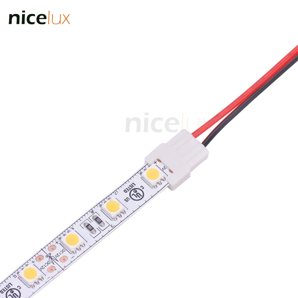 5pcs 2pin 10mm Slim Connector Single Color With Notch Strip To AWG20 Wire For 2pin 10mm 5050 Led Strip Connector 2pin Conductor