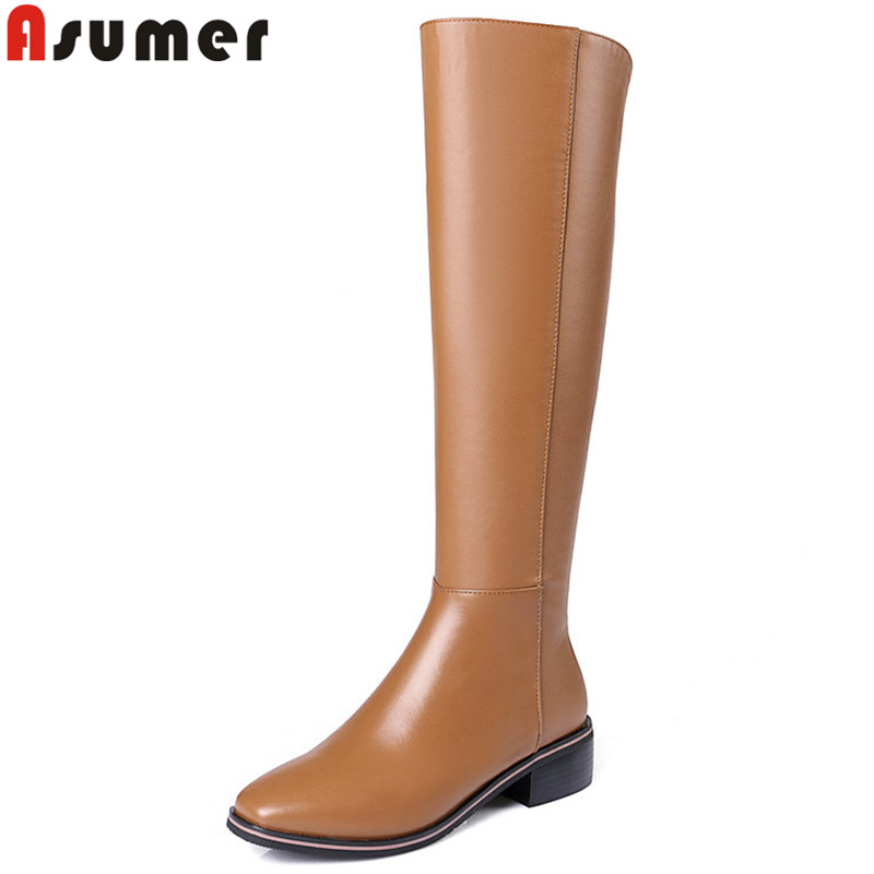 ASUMER size 33-41 fashion autumn winter boots square toe zip knee high boots women pu+cow leather boots med heels shoes anmairon new cow split women boots shoes high heels knee high autumn winter boots big size 34 40 boots flats tassel zip black