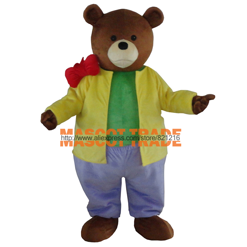 Brown Silly Bear Mascot Costume With Blue Pants Red Tie Spotty Dog Costumes