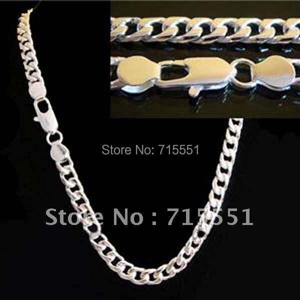 LJ & OMR Venta promocional Collar de plata de alta calidad, joyería para hombres, joyería de plata de 4MM, collar de cadena para hombres, joyería plateada