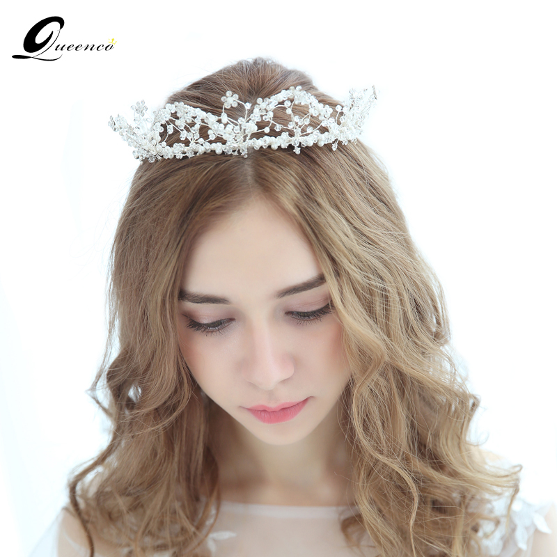 QUEENCO Bridal Shinny Crystal Princess Crown Tiara Pearls Headband Jewelry Ornament Handmade Hair Vine Wedding Hair Accessories girl crown crystal barrettes hair accessories shiny rhinestone crystal crown bridal wedding tiara flower child hair ornament