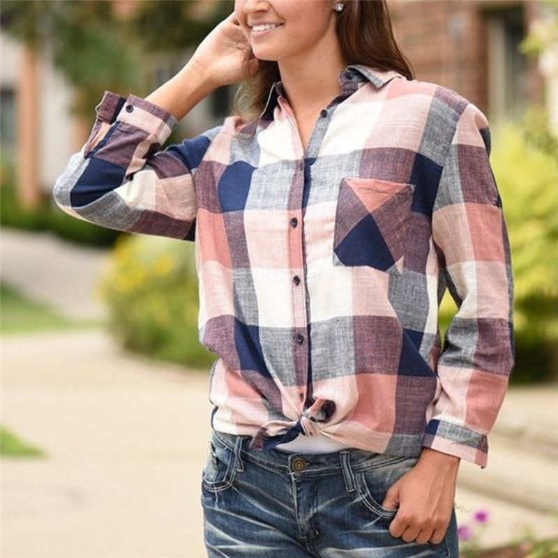 2018 New Brand Women Blouses Matching Color Long Sleeve Shirts Cotton Plaid Shirt Casual Female Plus Size Loose Blouse Tops #40A 1