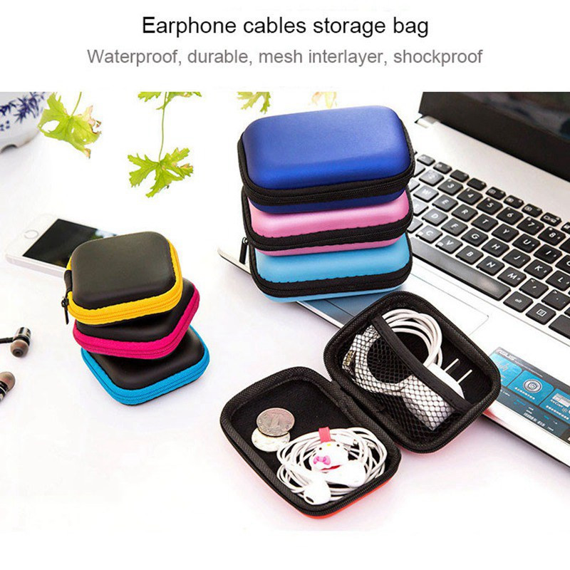 without Earphone Capable New Women Zipper Waterproof Desk Clip Holder Storage Eva Earphone Wire Box Data Line Cables Box 1pc Black