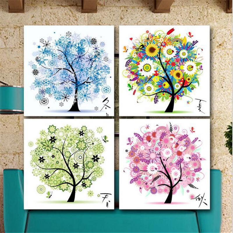5d diy diamond painting tree four seasons cross stitch for 4 seasons decoration