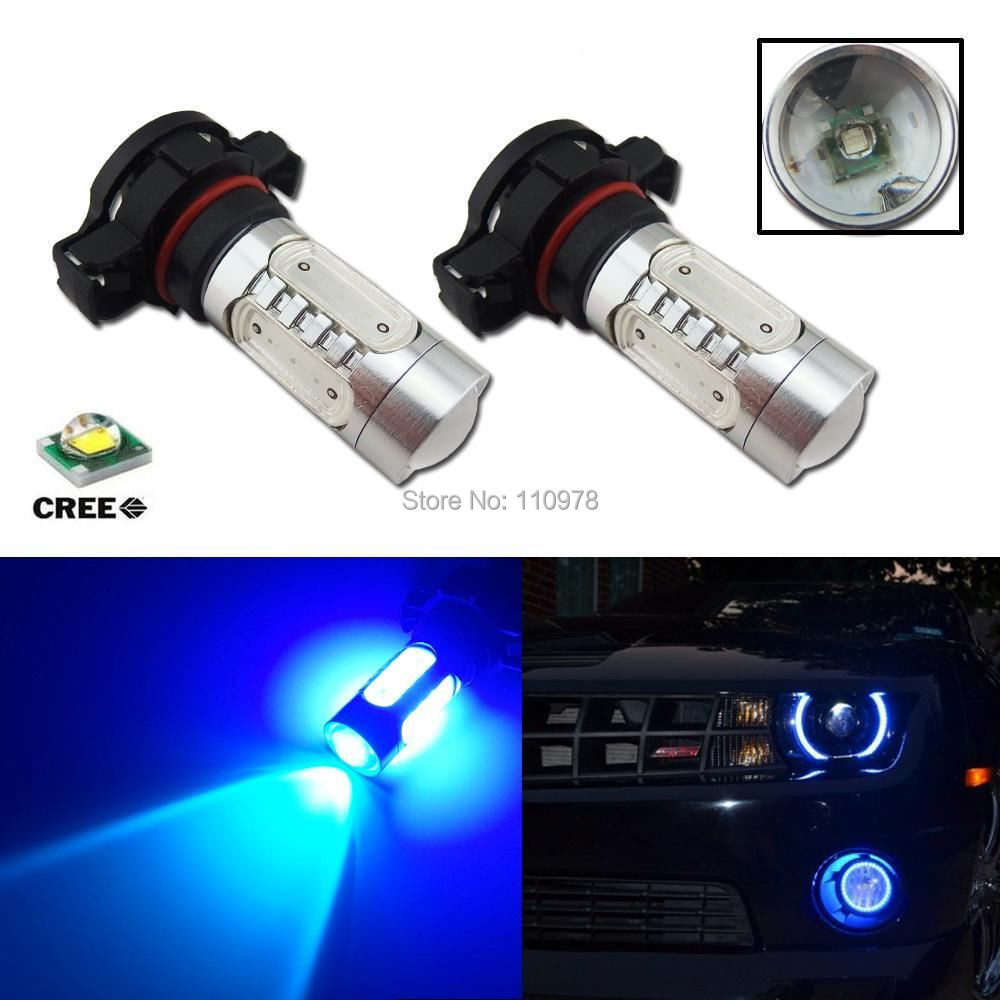 Us 25 6 20 Off 2pcs Blue H16 5202 Cree Chips 11w Cob Led Replacement Bulbs For Car Auto Fog Daytime Projector Led Bulbs In Car Light Assembly From
