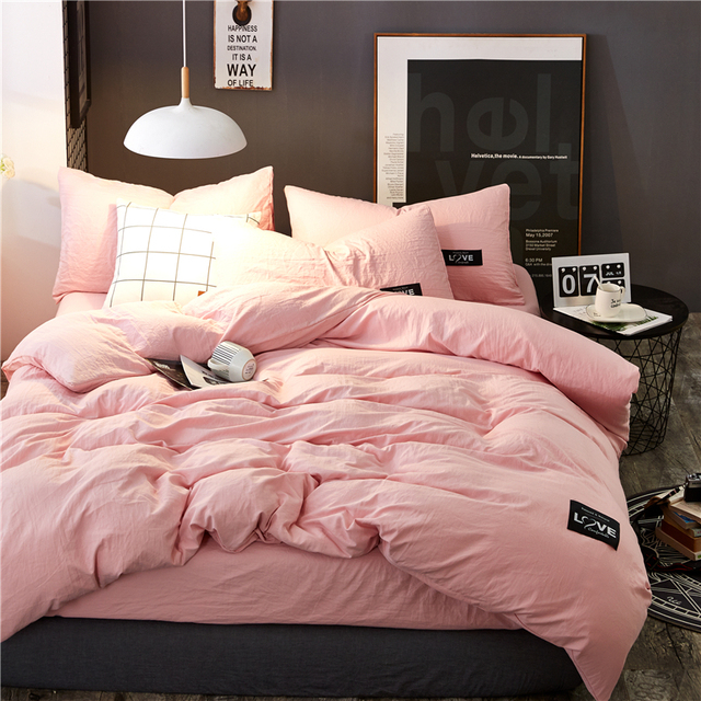 Mian Wei Thickening Washed Cotton Love Layout Design Bedding Sets Duvet Cover 4pcs Bed Sheets Twin Queen Size Solid Pink Color
