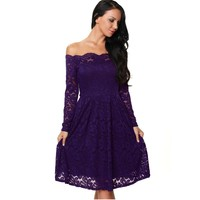 2017 New Night Club Sexy Purple Dress Lace Fabric Long Sleeve Boat Neck Women Swing Dress