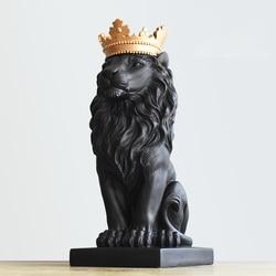 Nórdico bonito coroa leão estátuas de resina ornamento decoração para casa artesanato mascote moderno escritório desktop estatuetas esculturas arte