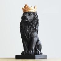Nordic Handsome Crown Lion Resin Statues Ornament Home Decoration Crafts Mascot Modern Office Desktop Figurines Sculptures Art