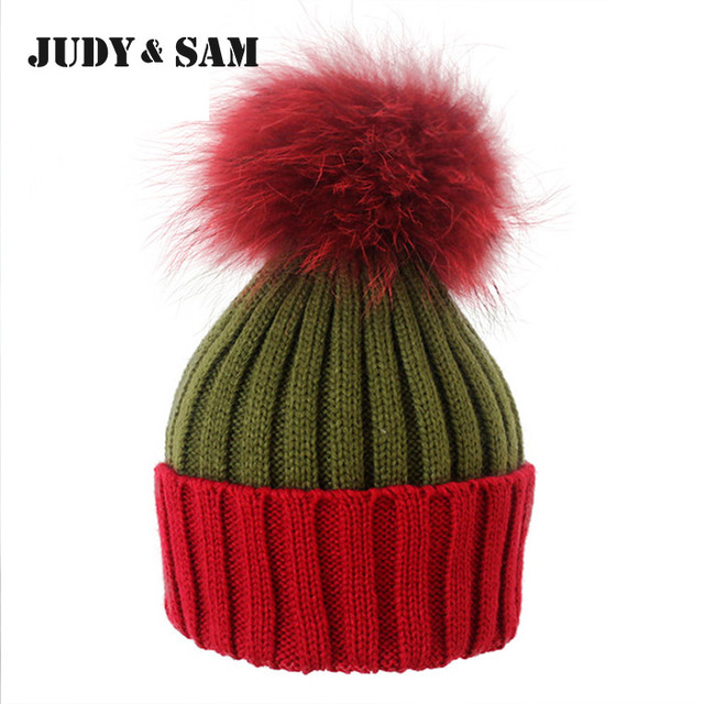 Brand New Warm Wool Blend 5 Colors Christmas Knitted Hats With Fluffy Real Raccoon Fur Pom Poms Winter Beanie Hat For Women Cap