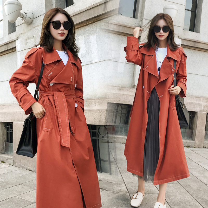 Brand famous new 2019 Fashion Coral Color Long   trench   coats For Women plus size Autumn winter windbreaker