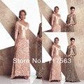 Novo estilo elegante a linha v neck lace longo mãe dos vestidos de noiva MQ021
