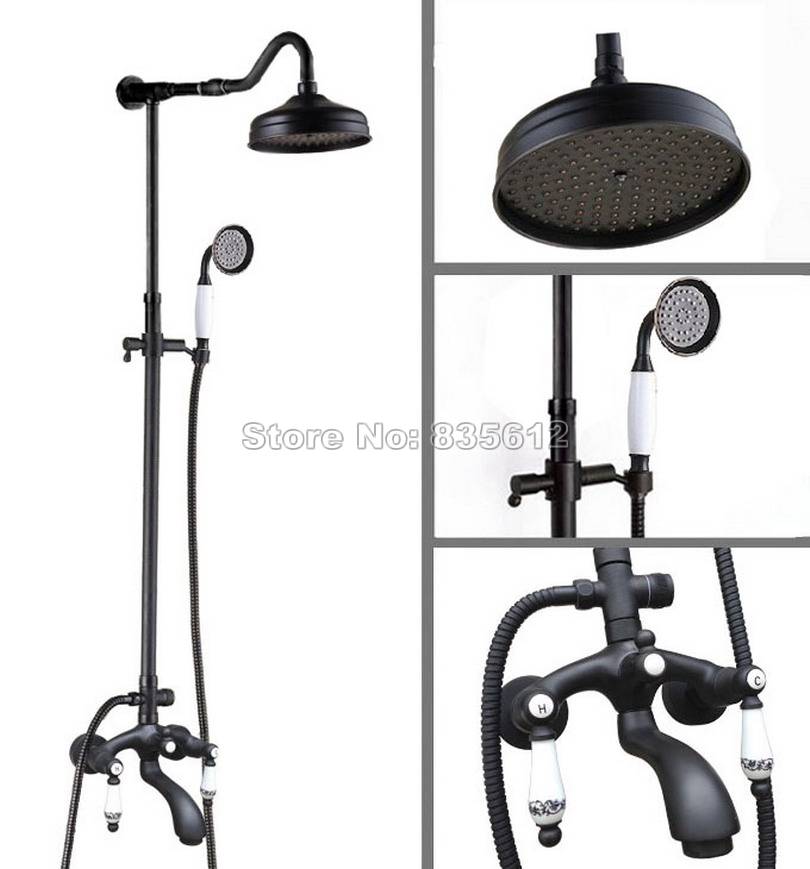Black Oil Rubbed Bronze Handheld Shower Bathroom Tub Mixer Tap Wall Mounted 8 Rain Shower Faucet Set with Hand Shower Whg634