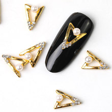 2019 new 10 pieces crystal bright pearl nail rhinestone alloy Nail Art decorations glitter DIY 3D Pearl nail jewelry pendant недорого