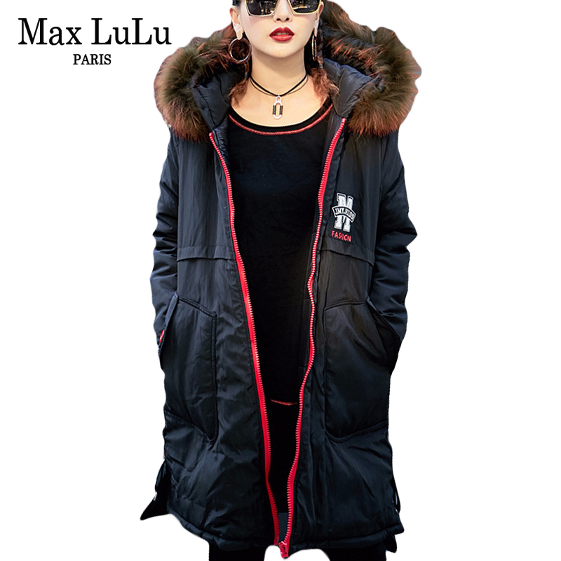 Max LuLu Luxury Korean Brand Girls Hooded Streetwear Womens Fur Collar Winter Jacket Warm Long   Parkas   Woman Coat Chaqueta Mujer