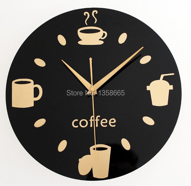 acrylic wall clock modern design coffee decoration for kitchen