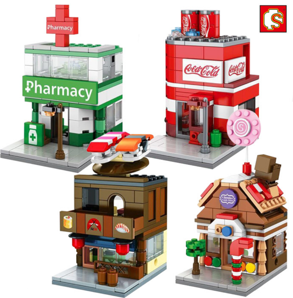 4pcs Mini Street View Coke Candy House Pharmacy Sushi Shop
