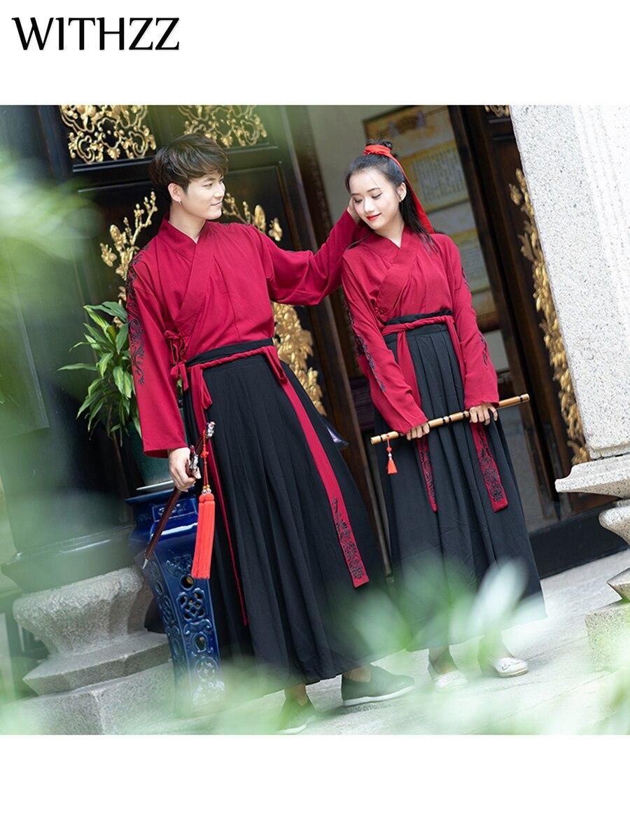 Martiaux Withzz Rouge Couples Costume Groupe Vêtements Deux Manteau Hanfu piece Suit Arts Chinois pièce Trois Style Brodé 8q8wZpr
