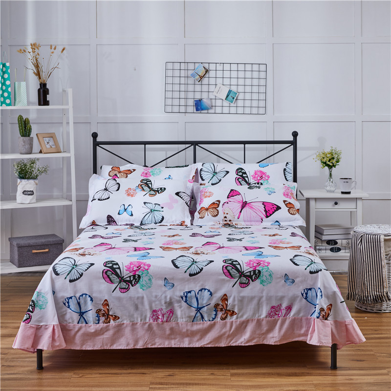 Stylish Color Butterfly Pattern 3pcs Flat Sheet 100% Cotton Bed Sheet For Child Kids Adults Pillowcovers 250x270cm 3 King Size