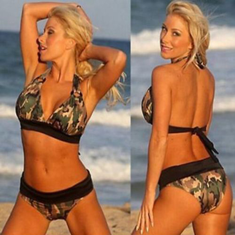 Camo Bandage Swimsuit Camouflage Bikinis Women Navy Bathing Suit Push Up Swimwear 2017 Sexy Halter Army Green High Waist Biquini