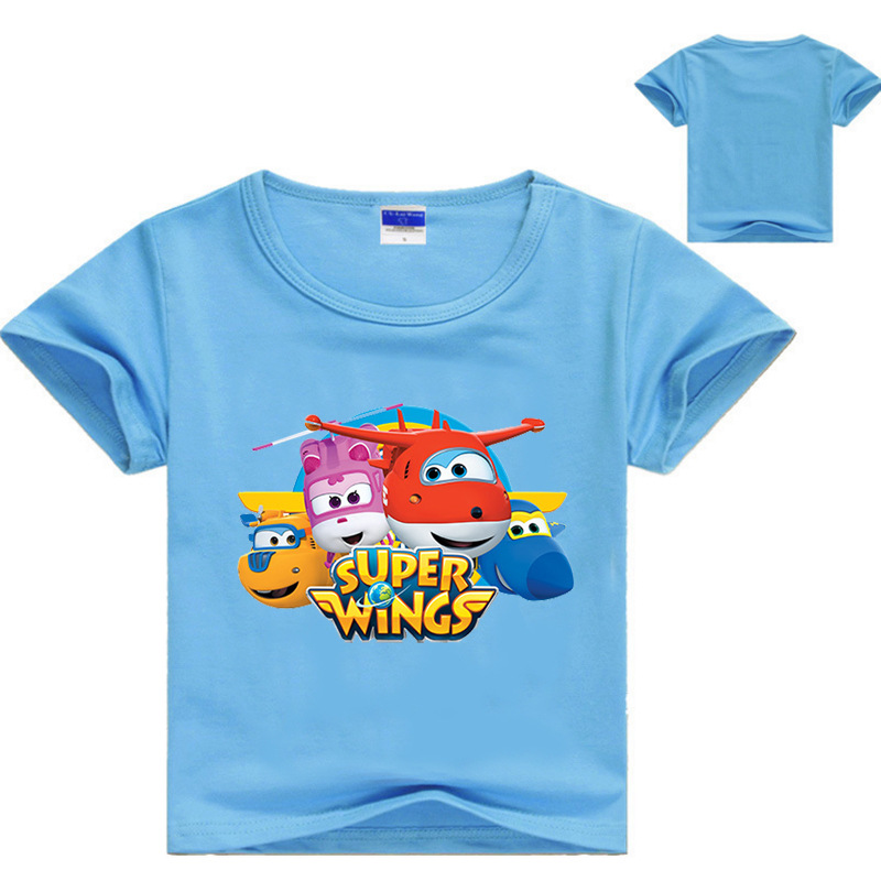 Z & Y 3-16Years Traje Super Asas Do Bebê Meninos Camisetas de Manga Curta camiseta Crianças Verão Encabeça Meninas Tshirt Criança roupas casuais