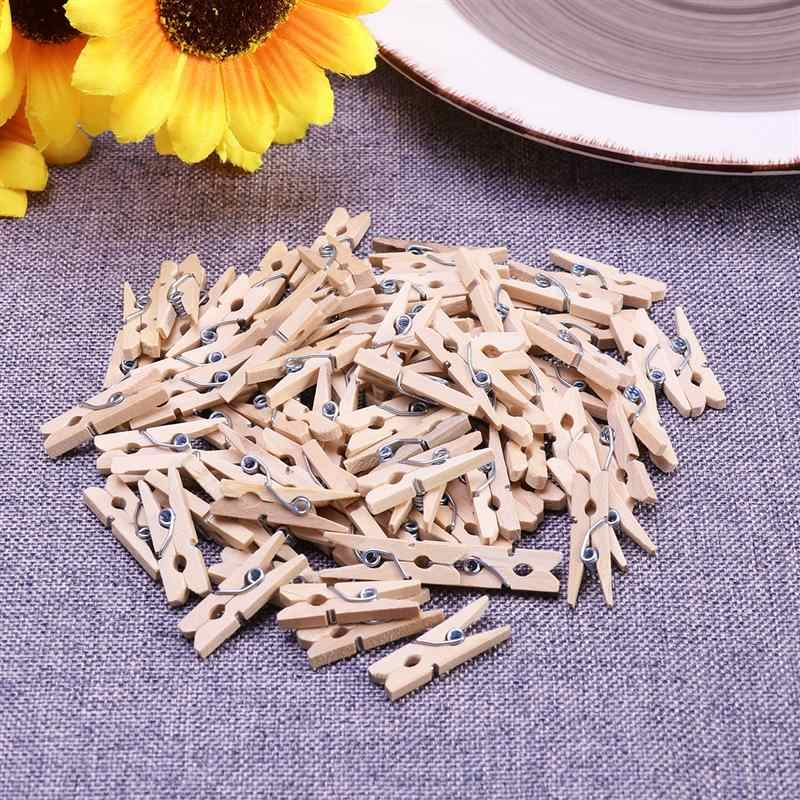 100pcs 2.5CM Hot Sale Mini Natural Wooden Clothes Photo Paper Peg Pin Clothespin Craft Clips School Office Stationery Wood color