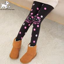New Warm Autumn Winter Leggings Velvet Flower Print Girl Pants Children Kids Pants Girl Clothing 2-12Years Old WZ007