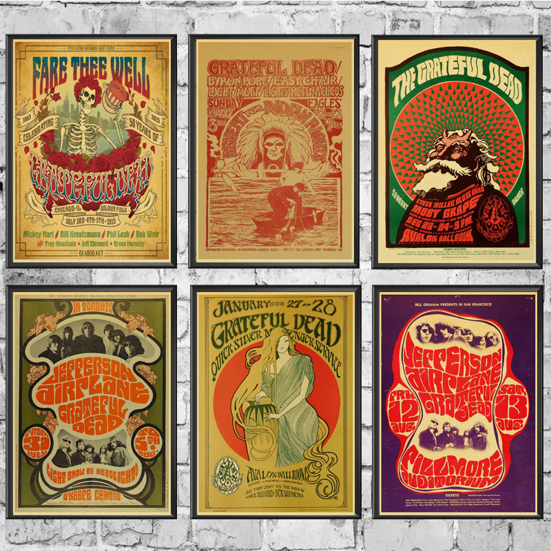 Grateful Dead Vintage  Posters Wall Stickers Retro Poster Prints High Definition For Living Room Home Decoration