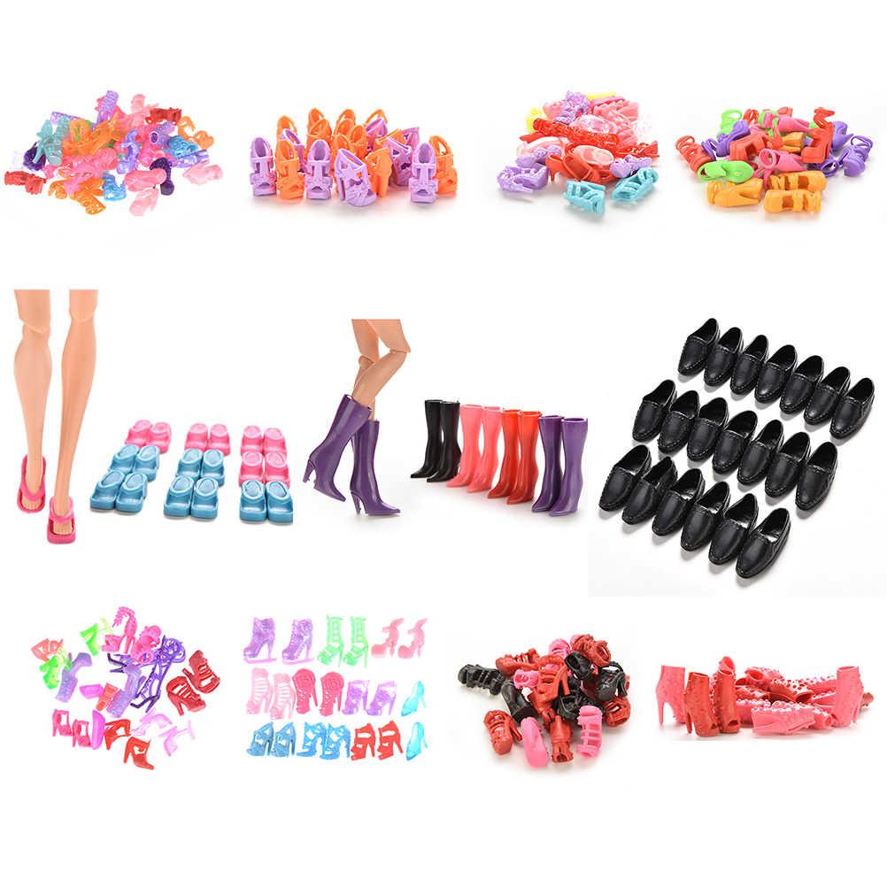 10 pares/set sapatos de boneca moda bonito colorido sortidas sapatos para boneca com diferentes estilos de alta qualidade brinquedo do bebê